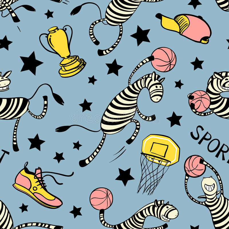 Basketball game seamless pattern with doodle cute zebra player. Background with sport attribute - cup, basket, shoe, stars, ball. Action poses. Vector stock illustration