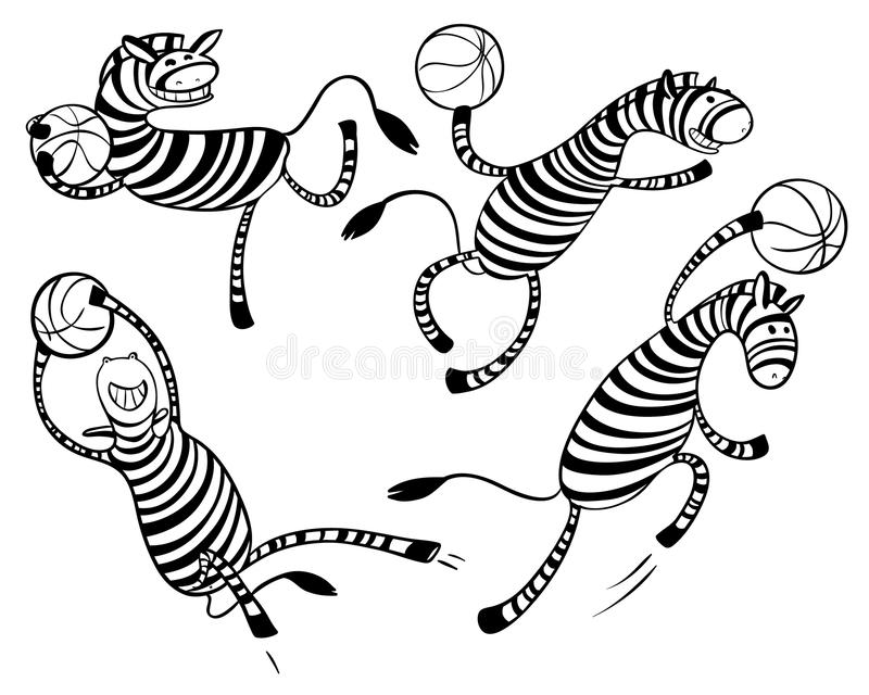 Basketball game set with doodle cute zebra player. Character wit. H ball. Action poses. Vector hand drawn simply illustration stock illustration
