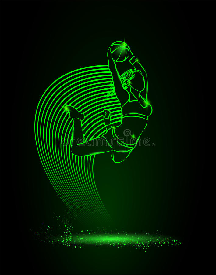 Basketball. The girl with the ball is jumping. neon style royalty free illustration