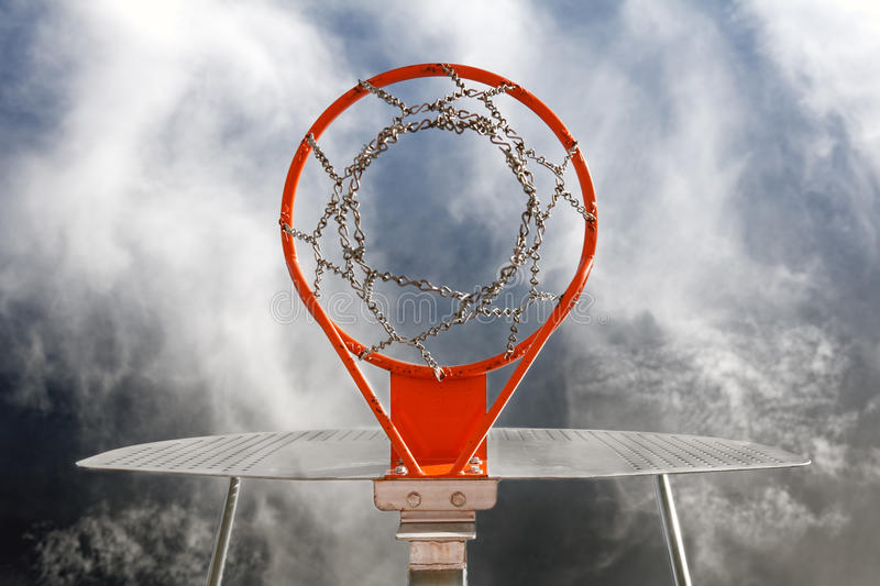 Basketball goal. Abstract image of basketball goal against the sky stock photo