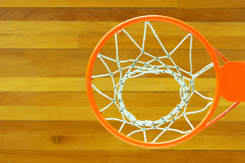 Basketball Goal. Elevated perspective of a basketball goal stock photo