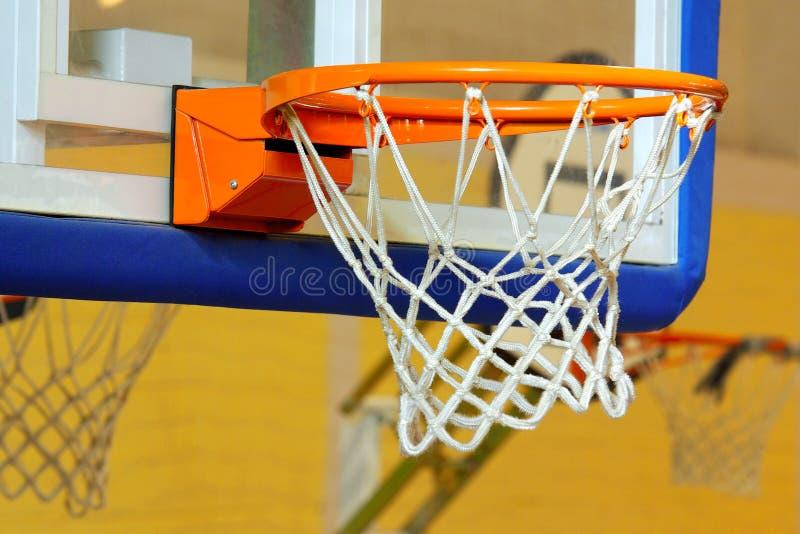 Basketball Goal. A glass basketball goal on a indoor sports facility royalty free stock photos
