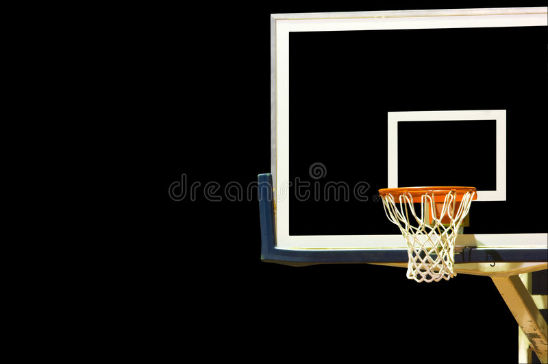 Basketball Goal on Black. A glass basketball goal on a black background with copy space stock photos