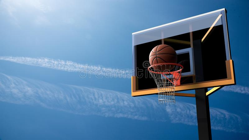 Basketball going into hoop on beautiful blue sky background. Sport and Competitive game concept. 3D illustration. Basketball going into hoop on beautiful blue vector illustration