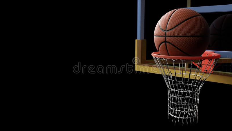 Basketball going into hoop on black isolated background. Sport and Competitive game concept. 3D illustration. Match, dark, winner, stadium, shoot, success stock illustration