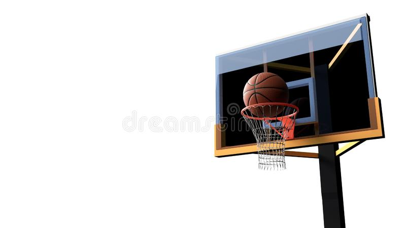 Basketball going into hoop on white isolated background. Sport and Competitive game concept. 3D illustration. Achievement, target, match, winner, stadium stock illustration