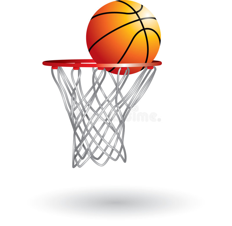 Basketball going into net stock images