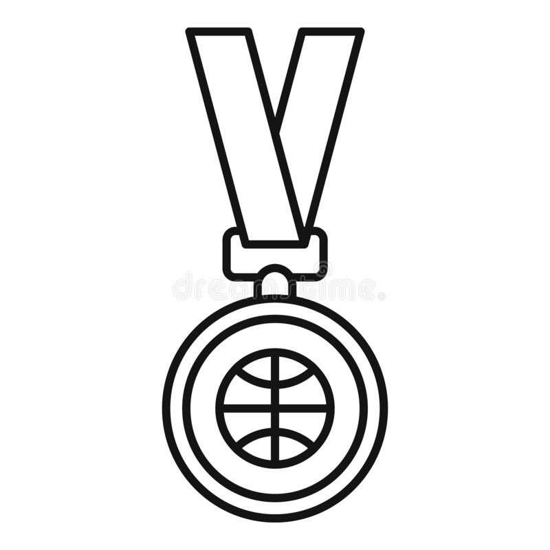 Basketball gold medal icon, outline style. Basketball gold medal icon. Outline basketball gold medal vector icon for web design isolated on white background royalty free illustration