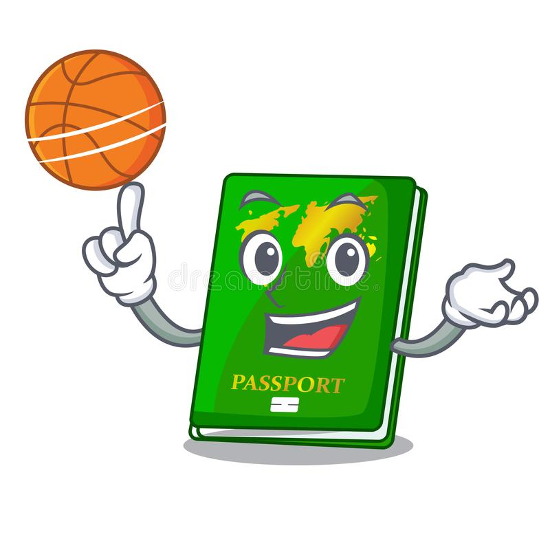 With basketball green passport in a character bag. Vector illustration royalty free illustration