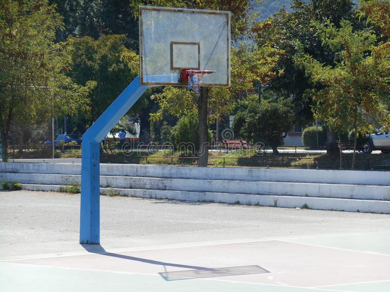 Basketball ground with blue white and red basket stock photography