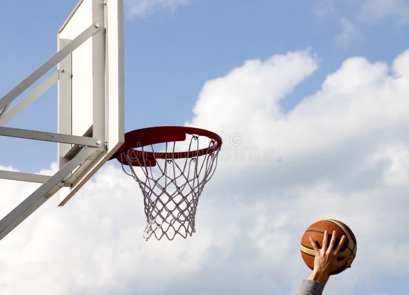 Basketball hoop. Against blue sky royalty free stock photos