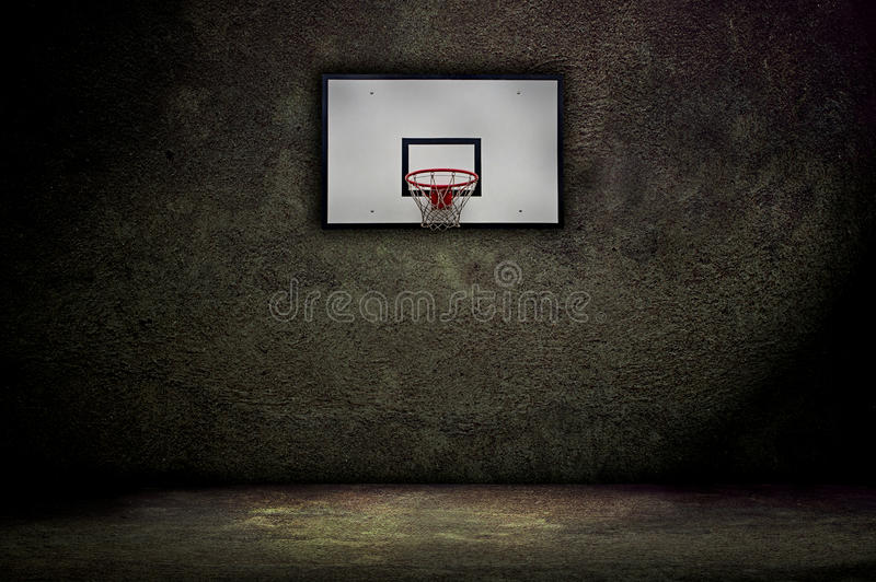 Basketball hoop. On empty outdoor court stock images