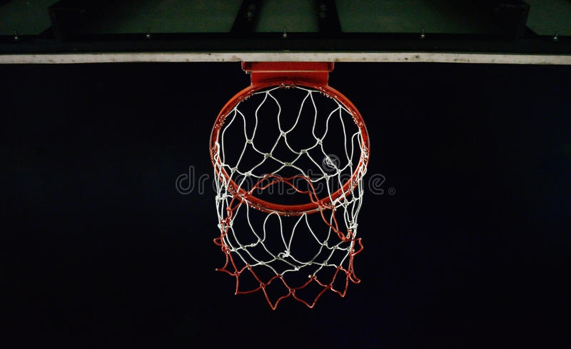 Basketball hoop. With night sky background royalty free stock photos