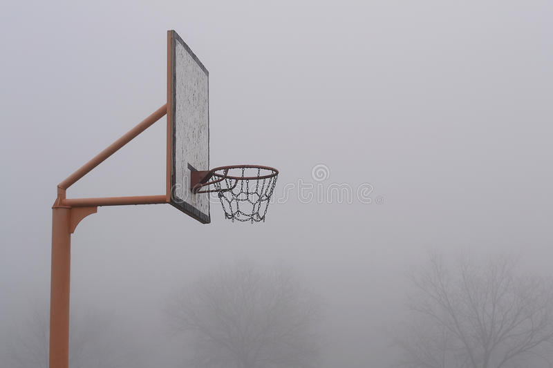 Basketball Hoop. In the fog royalty free stock photo