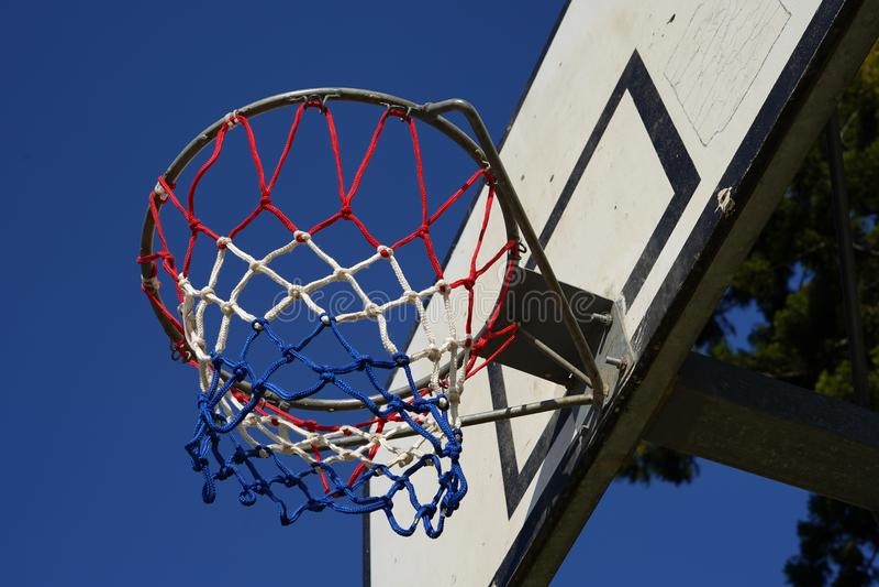 Basketball hoop on backboard stock photography
