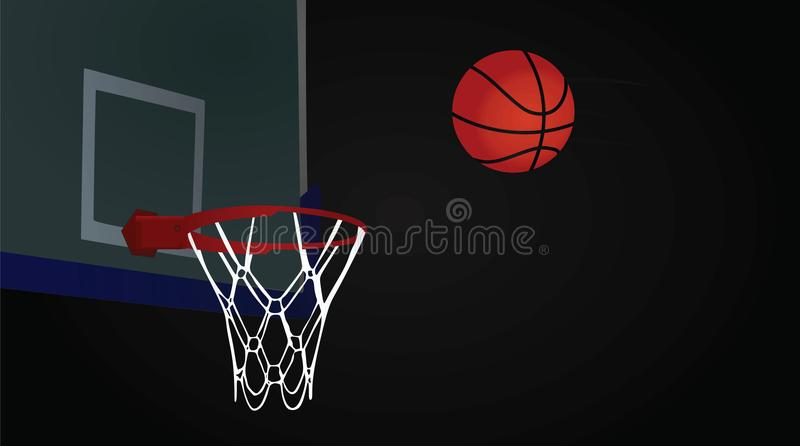 Basketball hoop and ball on dark background stock illustration