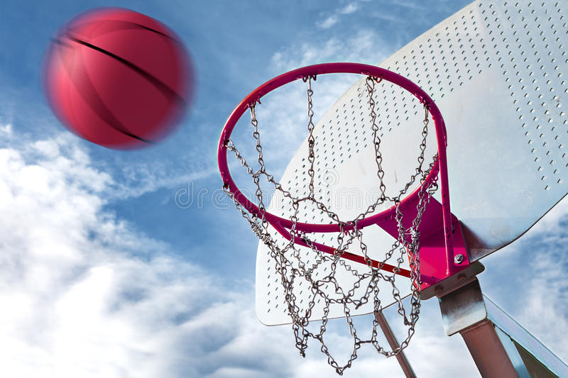 Basketball hoop. And ball. Sports background stock image