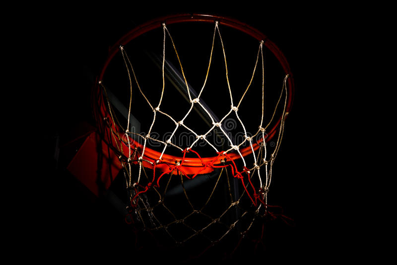 Basketball hoop. On black background with light effect stock photo