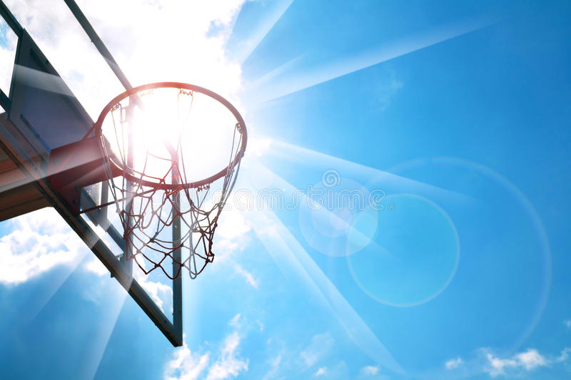 Basketball hoop. In the blue sky royalty free stock photography