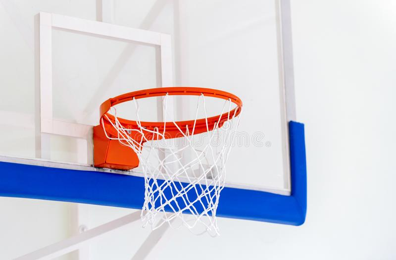 Basketball hoop cage, isolated large backboard closeup, new outd stock photo