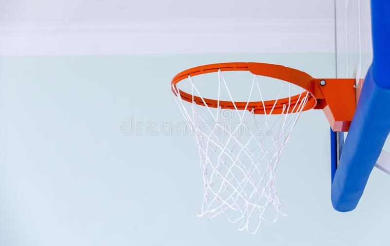 Basketball hoop cage, isolated large backboard closeup, new outd stock image