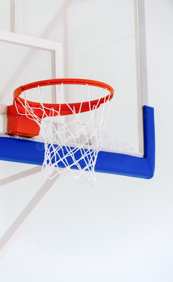 Basketball hoop cage, isolated large backboard closeup, new outd royalty free stock images