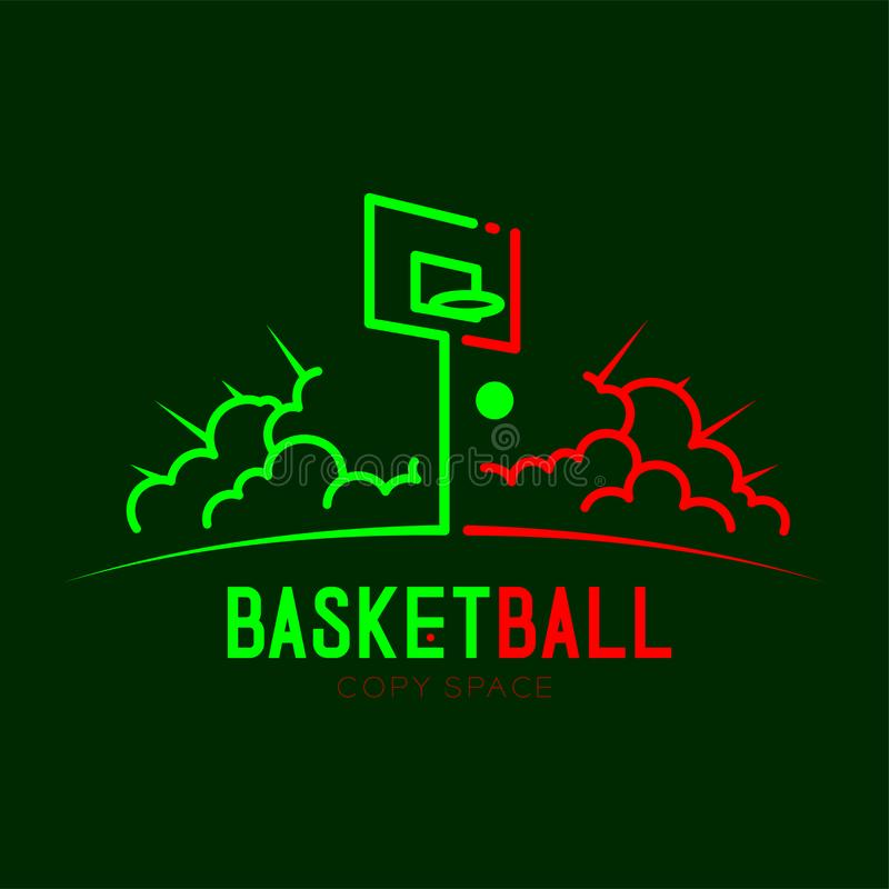 Basketball hoop with cloud radius logo icon outline stroke set dash line design illustration. Isolated on dark green background with basketball text and copy stock illustration