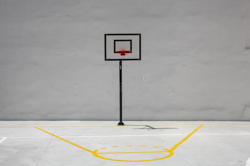 Basketball Hoop and Court With White Backboard with Room for Copy royalty free stock photos