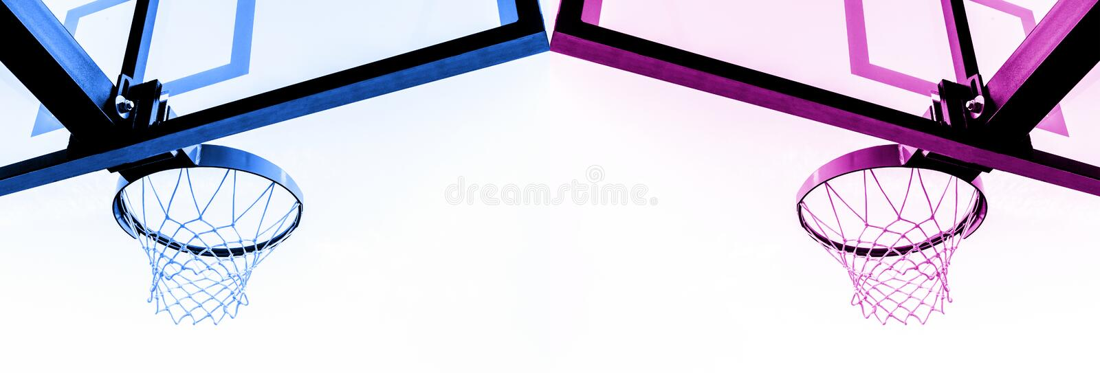 Basketball hoop isolated on white background. Blue and pink filter . stock photos