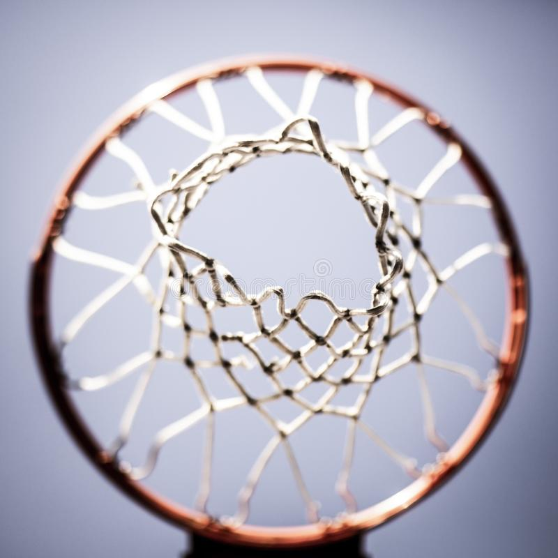 Basketball hoop shot from above stock image