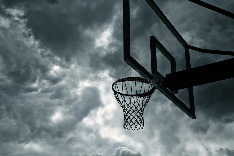 Basketball hoop and sky royalty free illustration