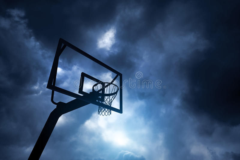 Basketball hoop and sky. 3d modelled and rendered basketball hoop royalty free stock photography