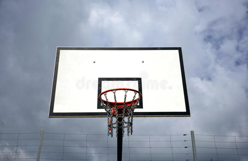 The basketball hoop and sky royalty free stock photography