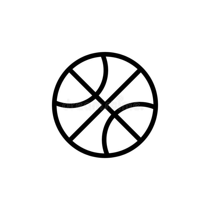 Basketball icon in outline flat style vector illustration