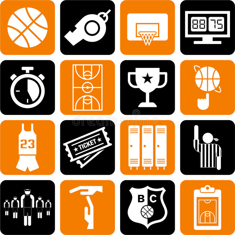 Download Basketball icons stock vector. Image of sports, icon - 26812677