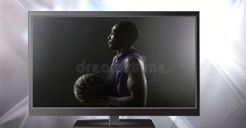 Basketball im Fernsehen lizenzfreie stockbilder