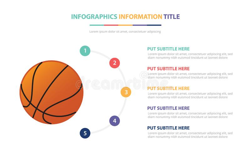 Basketball infographic template concept with five points list and various color with clean modern white background - vector stock illustration