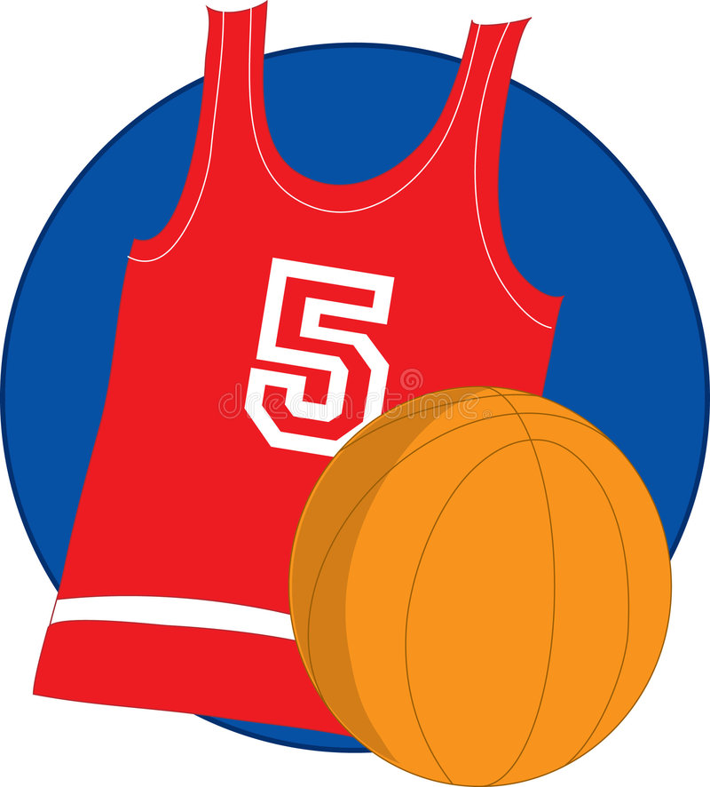 Basketball Jersey. Red basketball Jersey with basketball on blue background stock illustration