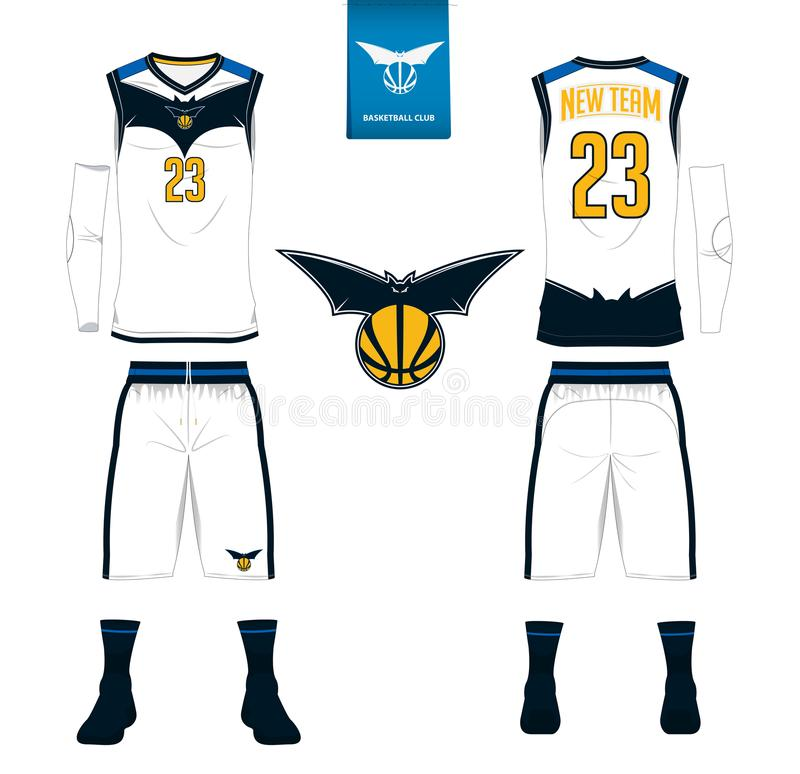 Basketball jersey, shorts, socks template for basketball club. Front and back view sport uniform. Tank top t-shirt mock up. Basketball jersey, shorts, socks vector illustration