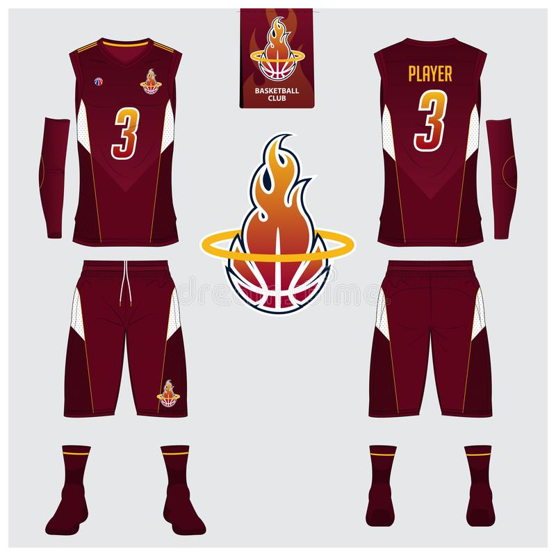 Basketball jersey, shorts, socks template for basketball club. Front and back view sport uniform. Tank top t-shirt mock up. Basketball jersey, shorts, socks stock illustration