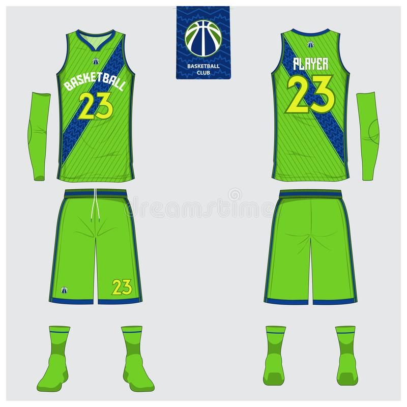 Basketball jersey, shorts, socks template for basketball club. Front and back view sport uniform. Tank top t-shirt mock up. Basketball jersey or sport uniform vector illustration