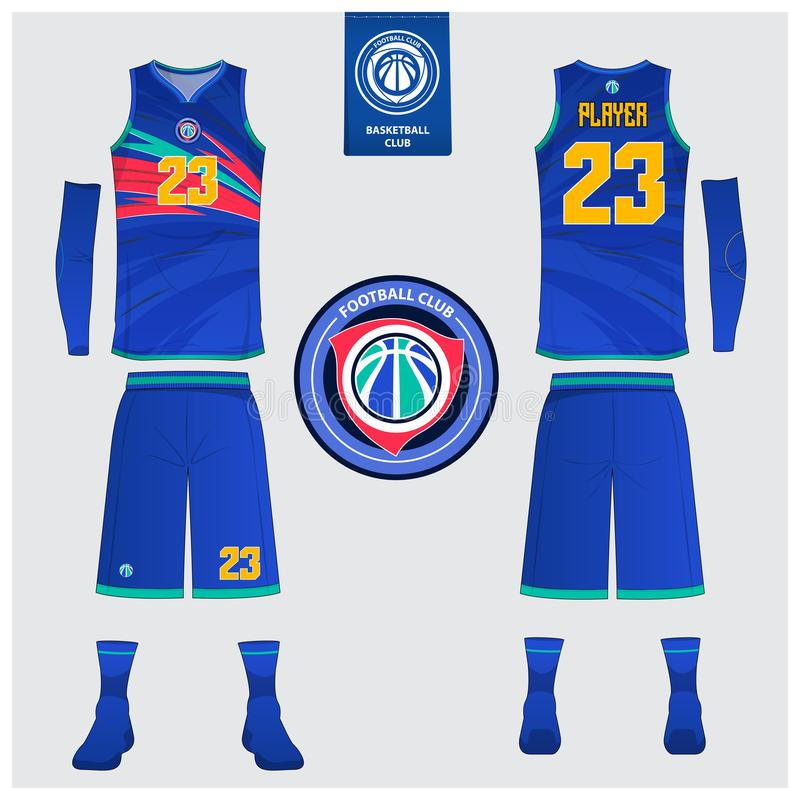 Basketball jersey, shorts, socks template for basketball club. Front and back view sport uniform. Tank top t-shirt mock up. Basketball uniform or sport jersey vector illustration