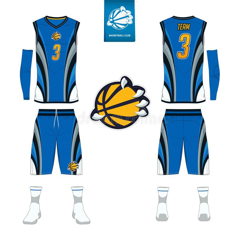 Basketball jersey, shorts, socks template for basketball club. Front and back view sport uniform. Tank top t-shirt mock up. Basketball jersey, shorts, socks royalty free illustration