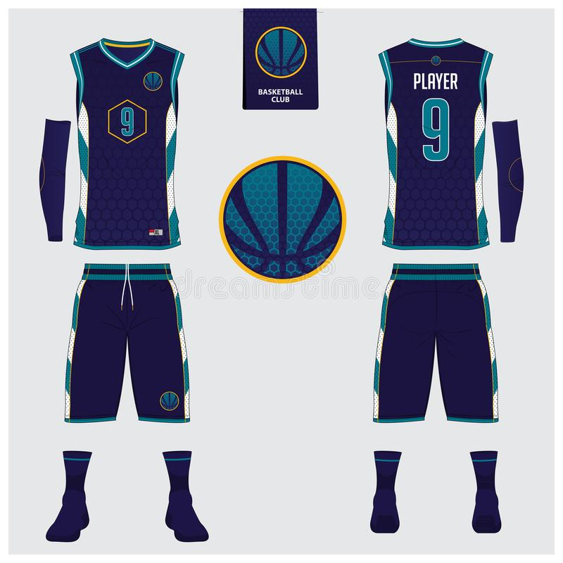 Basketball jersey, shorts, socks template for basketball club. Front and back view sport uniform. Tank top t-shirt mock up. vector illustration