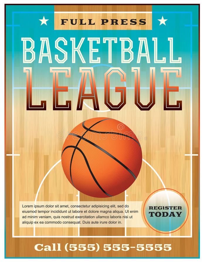 Basketball League Flyer royalty free illustration