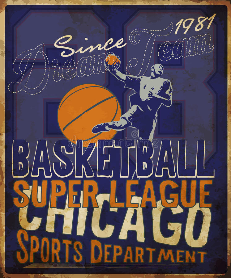 Basketball league flyer or poster perfect for basketball announcements; games; leagues; camps; and stock illustration