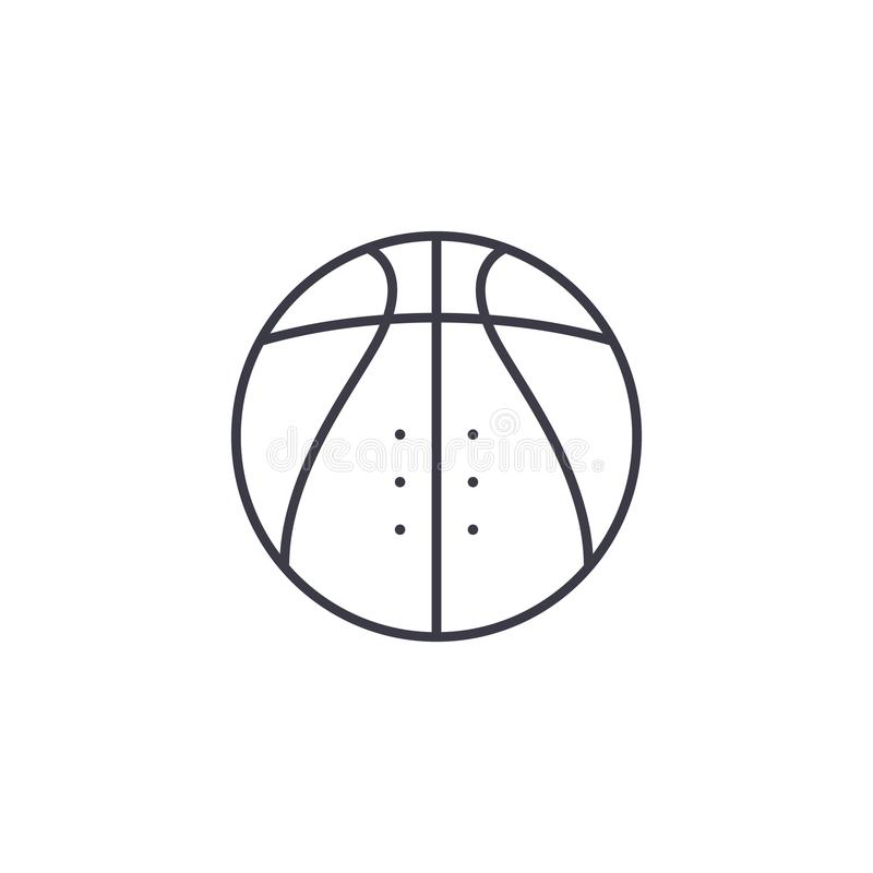 Basketball linear icon concept. Basketball line vector sign, symbol, illustration. royalty free illustration