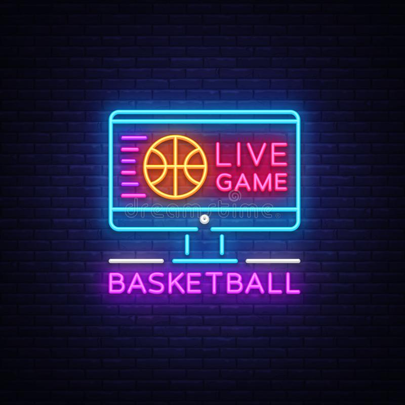 Basketball Live neon sign vector. Basketball Online Design template neon sign, light banner, neon signboard, modern vector illustration