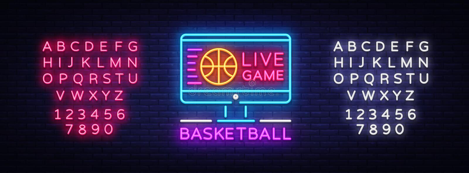 Basketball Live neon sign vector. Basketball Online Design template neon sign, light banner, neon signboard, modern royalty free illustration