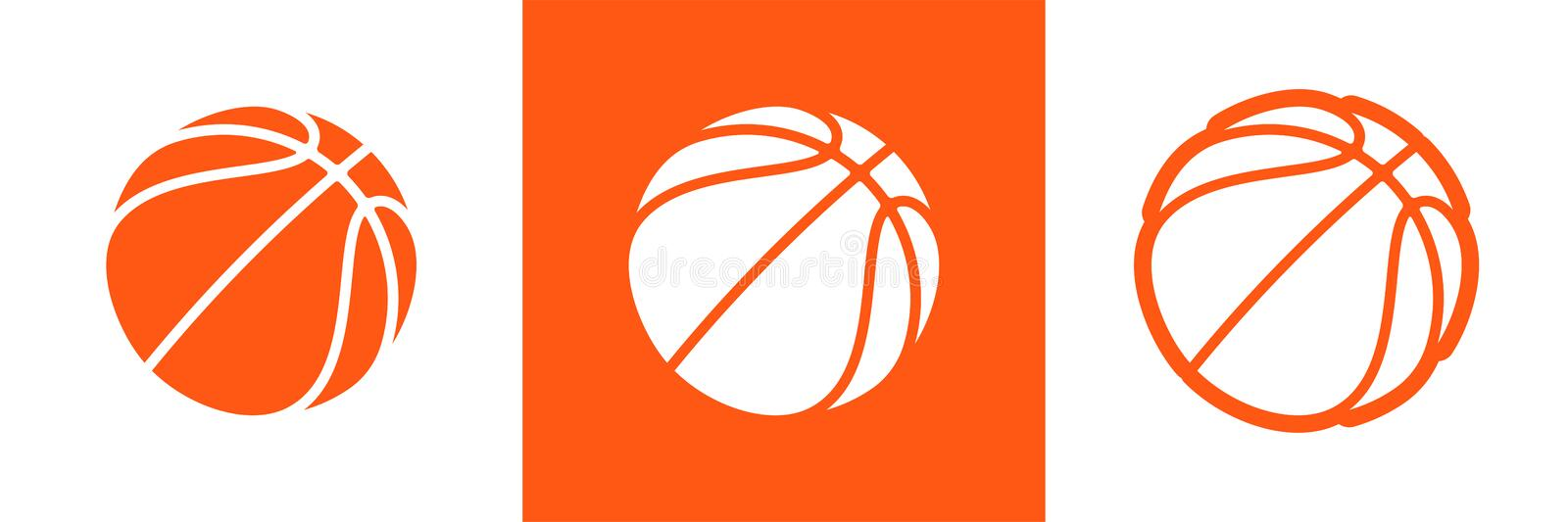 Basketball logo set of vector icon for streetball championship tournament, school or college team league. Vector flat basket ball vector illustration